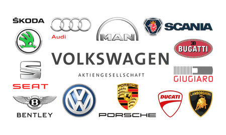 Kiev, Ukraine - February 24, 2016: Collection of popular car logos printed on white paper: Volkswagen, Audi, Seat, Bentley, Bugatti, Ducati, Giugiaro, Lamborghini, Scania, Skoda and other