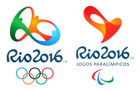 deportes olimpicos: Kiev, Ucrania - el 26 de de febrero de, 2016: logotipos oficiales de los Juegos Ol�mpicos de 2016 de verano en R�o de Janeiro, Brasil, del 5 de agosto a la 21 de de agosto de, 2016, impreso en papel. Editorial