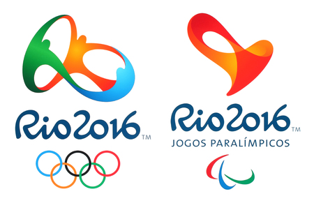 Kiev, Ukraine - February 26, 2016: Official logos of the 2016 Summer Olympic Games in Rio de Janeiro, Brazil, from August 5 to August 21, 2016, printed on paper. 版權商用圖片 - 53643260