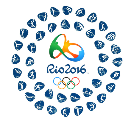 deportes olimpicos: Kiev, Ucrania - 12 de marzo 2016: Logotipo oficial de los Juegos Ol�mpicos de Verano de 2016 con clases de deporte en R�o de Janeiro, Brasil, del 5 de agosto a la 21 de de agosto de, 2016, impreso en papel.