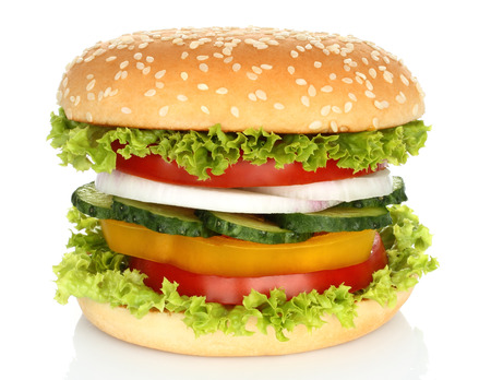 vegetables on white: Healthy vegan burger with raw vegetables on white background Stock Photo