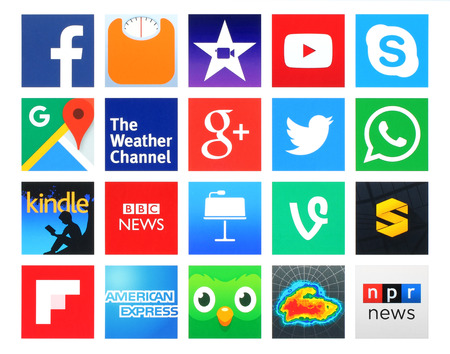 social networking: Kiev, Ukraine - April 12, 2016: Collection of popular 20 square icons of social networking, books, education, finance, health, navigation, news, photo, productivity and others