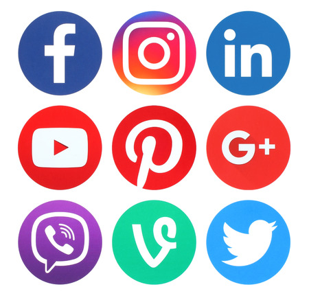 Kiev, Ukraine - May 26, 2016: Collection of popular round social media logos printed on paper:Facebook, Twitter, Google Plus, Instagram, LinkedIn, Pinterest, Vine, Youtube and Viber Stock Photo - 58497427