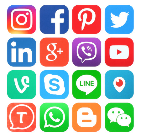 Kiev, Ukraine - May 30, 2016: Collection of popular social media icons printed on paper:Facebook, Twitter, Google Plus, Instagram, LinkedIn, Pinterest, Vine, Youtube and others