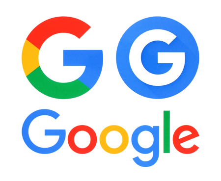 google: Kiev, Ukraine - May 30, 2016: Collection of Google logos printed on white paper. Google is USA multinational corporation.