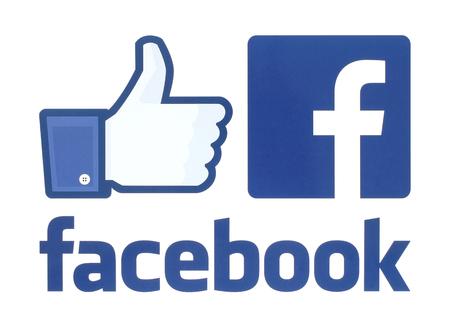 Kiev, Ucrania - 30 may, 2016: Colección de facebook logotipos impresos en papel blanco. Facebook es un conocido servicio de medios sociales.