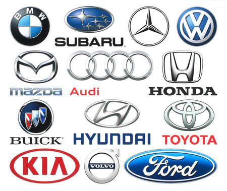 mazda: Kiev, Ukraine - June 03, 2016: Collection of popular car logos printed on white paper: Volkswagen, Audi, Subaru, Mazda, Hyunday, Toyota, Kia, Volvo, Ford and others