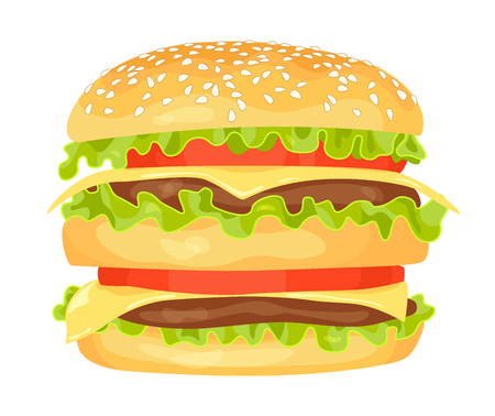 Modern flat design vector illustration of big hamburger on white background