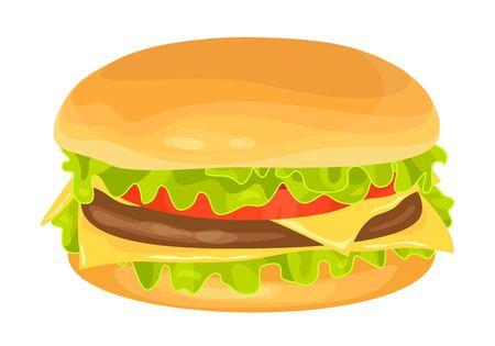 Modern flat design vector illustration of big hamburger on white background