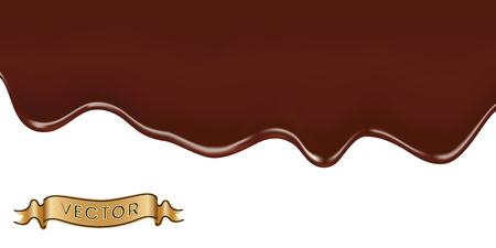 dripping chocolate: Realistic vector illustration of melted chocolate dripping on white background