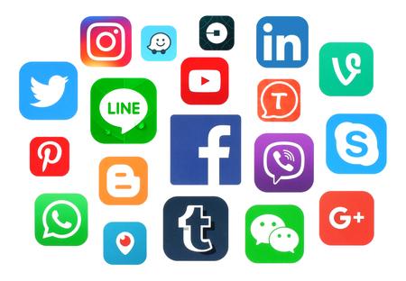 Kiev, Ukraine - July 11, 2016: Collection of popular social media logos printed on paper: Facebook, Twitter, Google Plus, Instagram, LinkedIn, Pinterest, Vine, Youtube and others