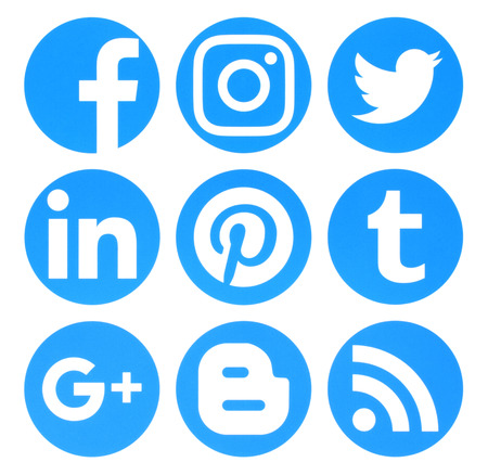 circle icon: Kiev, Ukraine - August 22, 2016: Collection of popular circle blue social media logos printed on paper:Facebook, Twitter, Google Plus, Instagram, Pinterest, LinkedIn, Blogger, Tumblr and RSS