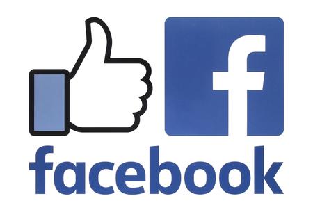 Kiev, Ucr�nia - 23 de agosto de 2016: cole��o de novos logotipos do Facebook impressos em papel branco. O Facebook � um conhecido servi�o de rede social Editorial
