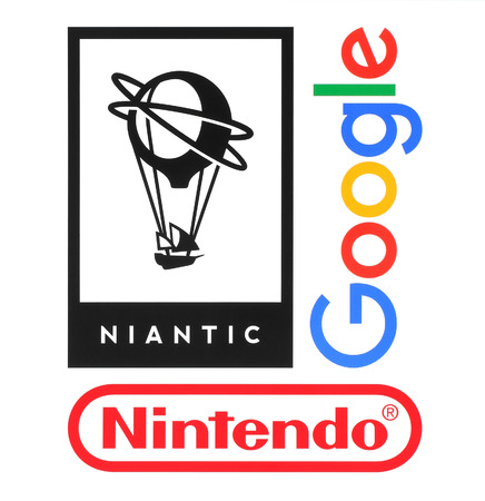 nintendo: Kiev, Ukraine - August 23, 2016: Collection of popular companies logos printed on paper: Niantic, Nintendo and Google, which made popular game and application Pokemon Go