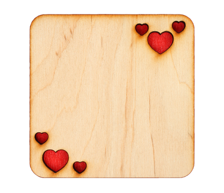 scorched: Wooden greeting card with scorched hearts with red paper inside, isolated on white background Stock Photo