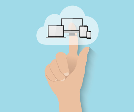 cloud computer: Cloud computing concept, hand pushes big flat cloud with tablet PC, notebook, smart phone and computer Illustration