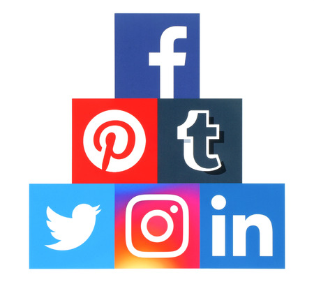 pinterest: Kiev, Ukraine - September 06, 2016: Pyramid of square popular social media logos printed on paper: Facebook, Twitter, Instagram, Pinterest, Linkedin and Tumblr Editorial