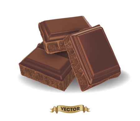 chocolatera: Ilustración vectorial realista de barra de chocolate roto en el fondo blanco