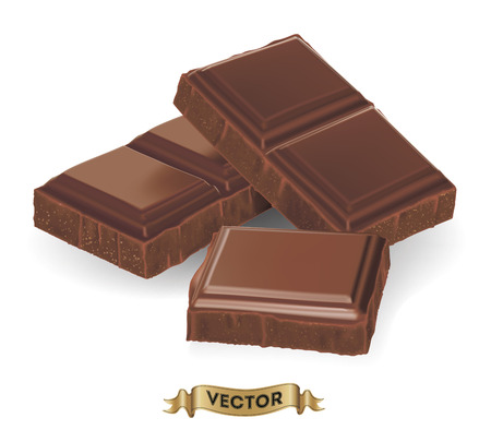 Realistic vector illustration of broken chocolate bar on white background  イラスト・ベクター素材