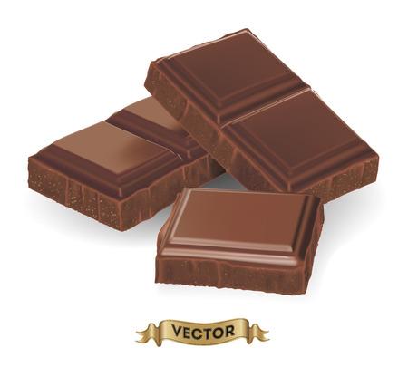 Ilustración vectorial realista de barra de chocolate roto en el fondo blanco