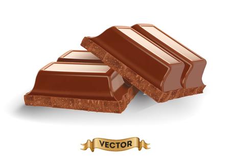 Illustrazione vettoriale realistico di rotto barretta di cioccolato su sfondo bianco