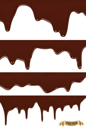 melted chocolate: Realistic vector illustration, set of melted chocolate dripping on white background Illustration