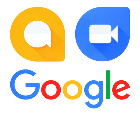 Kiev, Ukraine - September 21, 2016: Google, Allo and Duo logos printed on white paper. Allo is an instant messaging mobile app developed by Google. Duo is a video chat mobile app Editorial