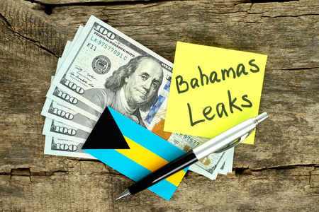 scandal: Bahamas Leaks scandal concept on wooden background Stock Photo