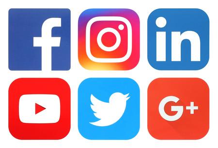 Kiev, Ukraine - September 20, 2016: Collection of popular social media logos printed on paper: Facebook, Twitter, Google Plus, Instagram, LinkedIn and YouTube 報道画像