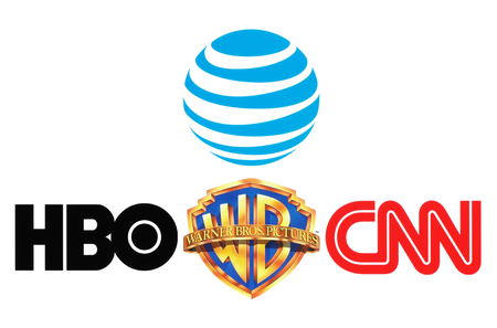 bros: Kiev, Ukraine - October 26, 2016: Collection of popular logos of AT&T Inc., Warner Bros, HBO and CNN on white paper Editorial