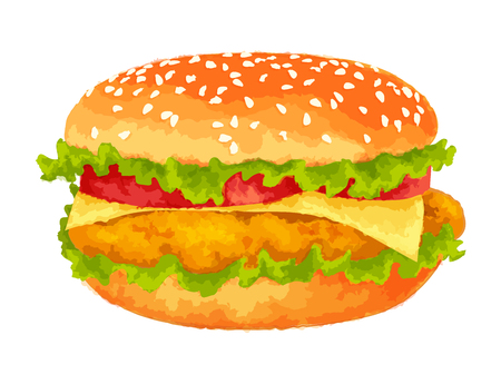 Modern watercolor design vector illustration, big burger on white background