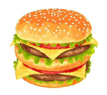 grilled: Modern watercolor design vector illustration, big burger on white background
