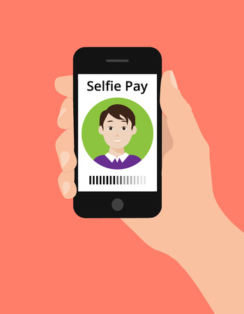 pay money: Modern flat design illustration, hand hold smart phone, selfie pay concept. Selfie pay is a money transfer method with smart phone Illustration