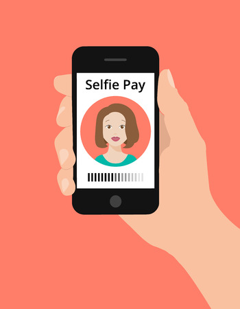 pay phone: Modern flat design illustration, hand hold smart phone, selfie pay concept. Selfie pay is a money transfer method with smart phone Illustration