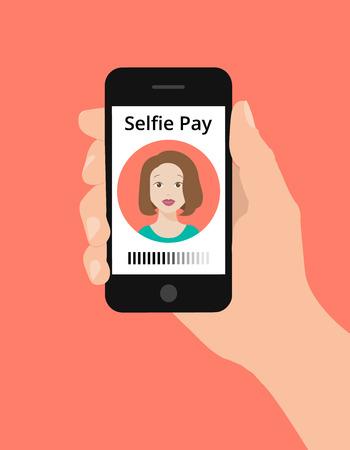money transfer: Modern flat design illustration, hand hold smart phone, selfie pay concept. Selfie pay is a money transfer method with smart phone Illustration