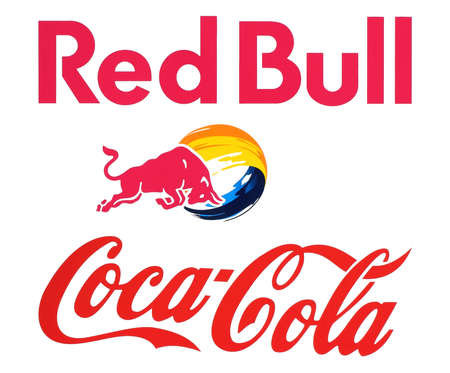 rival: Kiev, Ukraine - November 15, 2016: Collection of popular food logos companies printed on paper: Coca Cola and Red Bull. Red Bull is the most popular energy drink. Coca-Cola is its rival Editorial