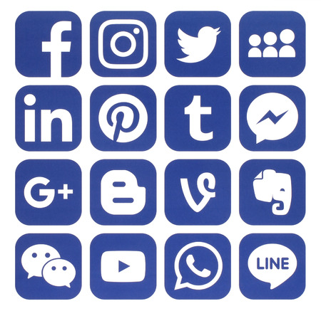 myspace: Kiev, Ukraine - November 24, 2016: Collection of popular blue social media icons printed on paper:Facebook, Twitter, Google Plus, Instagram, Pinterest, LinkedIn, Blogger, Tumblr and others