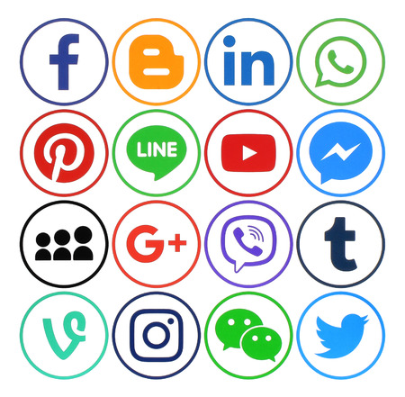 Kiev, Ukraine - December 05, 2016: Collection of popular social media round icons printed on paper: Facebook, Twitter, Google Plus, Instagram, Pinterest, LinkedIn, Blogger, Tumblr and others