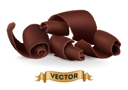 shavings: Chocolate shavings on white background. Realistic style vector illustration