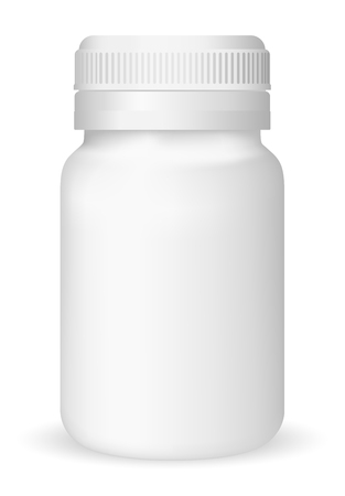 placebo: White medical container on white background, realistic vector illustration