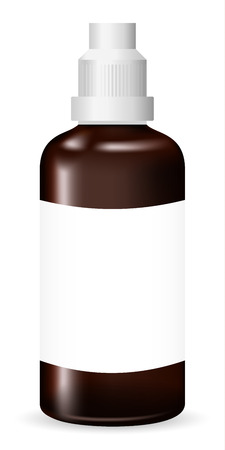 Brown glass medical container on white background, realistic vector illustration Illustration