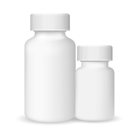 placebo: White medical containers on white background, realistic vector illustration Illustration