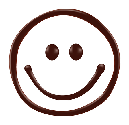 dripping: Chocolate smiley face on white background, realistic vector illustration Illustration