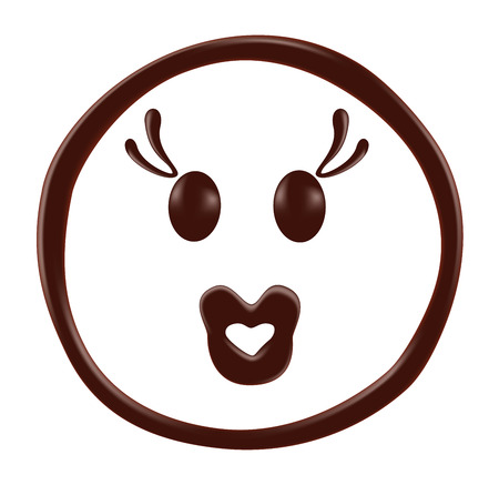 Chocolate smiley face on white background, realistic vector illustration Illustration