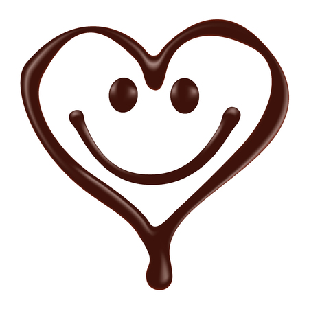 melt: Chocolate heart shape smiley face on white background, realistic vector illustration