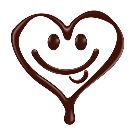 to trickle: Chocolate heart shape smiley face on white background, realistic vector illustration