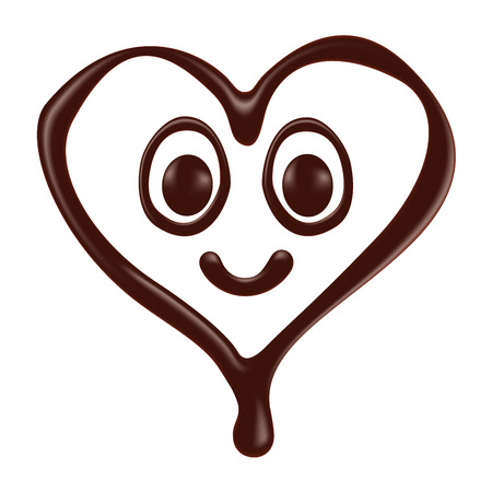 Chocolate heart shape smiley face on white background, realistic vector illustration