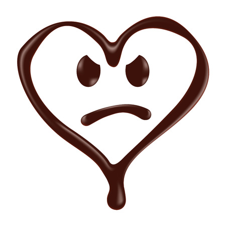happines: Chocolate heart shape smiley face on white background, realistic vector illustration