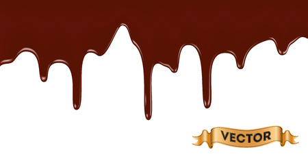 melt: Realistic vector illustration of melted chocolate dripping on white background