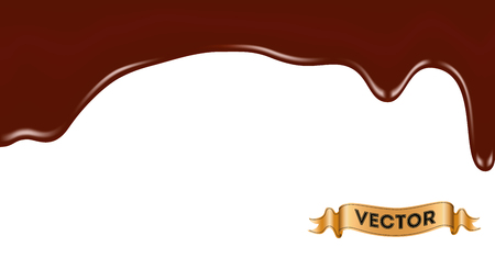 trickle: Realistic vector illustration of melted chocolate dripping on white background